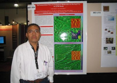 Aristeo Segura,¨ Self-assembled Film of Cholesterol Molecules on the Au(111): An STM Study¨, NSTI-Nanotech 2006, Boston, MA,USA. l 7 de Mayo de 2006.